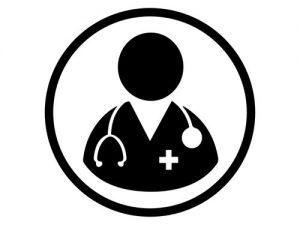 Black and white doctor icon