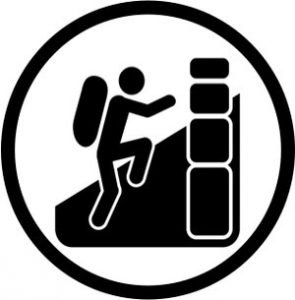 black and white icon of someone climbing
