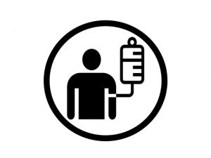 black and white icon of someone receiving intravenous therapy