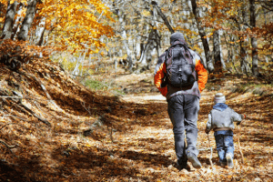 Dad and son hiking