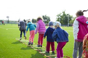 Kids using floor ladder