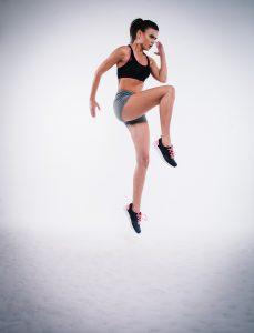 Female jumping exercise